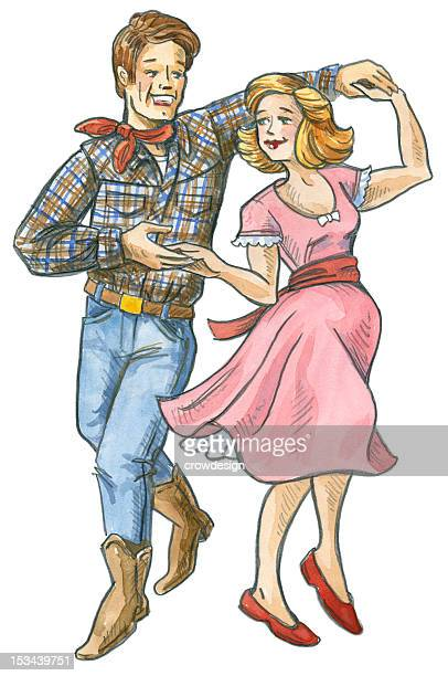 retro-style illustration of man and woman square dancing - knockout stock illustrations