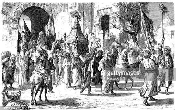return of a mecca pilgrim caravan - shiraz stock illustrations