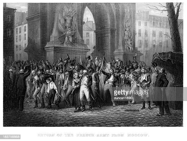 illustrations, cliparts, dessins animés et icônes de retour de l'armée française de moscou - guerres napoléoniennes