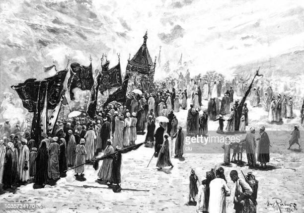 return of the mecca caravan pilgrimage - history stock illustrations