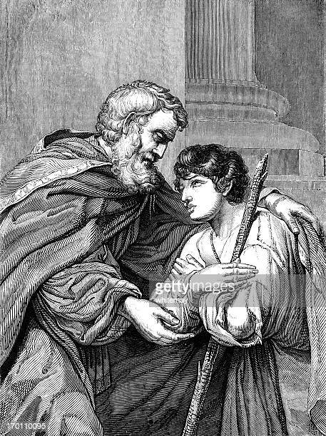 return of the prodigal son (victorian woodcut) - forgiveness stock illustrations, clip art, cartoons, & icons