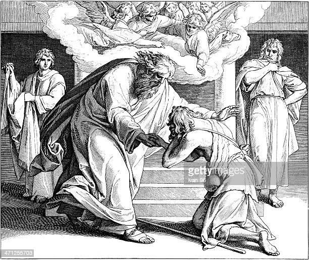 stockillustraties, clipart, cartoons en iconen met return of the prodigal son - terugslaan