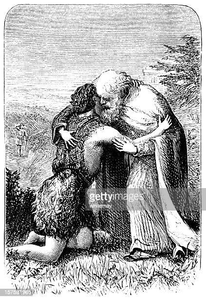 return of the prodigal son - victorian engraving - forgiveness stock illustrations, clip art, cartoons, & icons