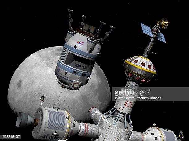 A reusable lunar shuttle prepares to dock with a lunar cycler.