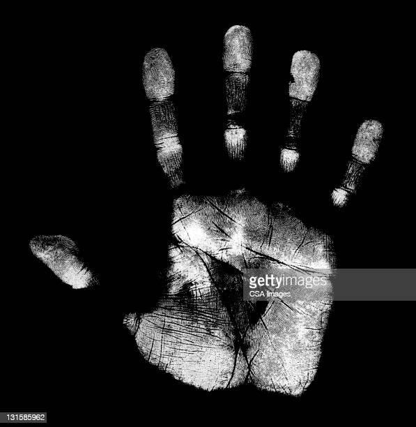 reverse handprint - black background stock illustrations