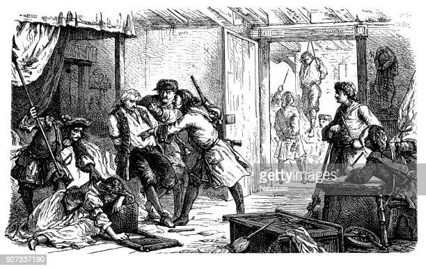 """revocation of the edict of nantes,scene with """"dragonnades"""" ,french government policy instituted by king louis xiv in 1681 to intimidate huguenot families into either leaving france or converting to catholicism - protestantism stock illustrations, clip art, cartoons, & icons"""