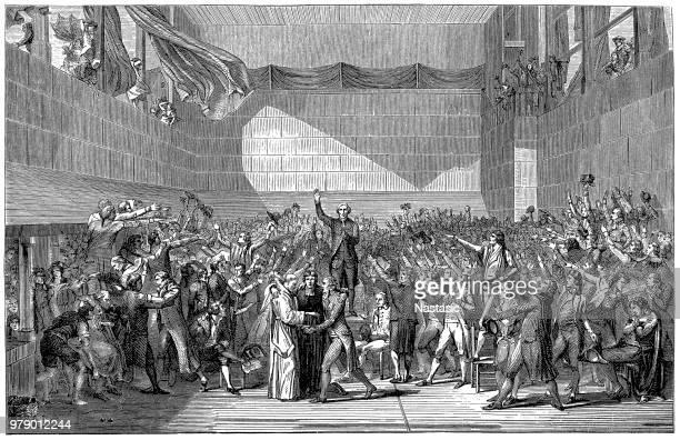 illustrations, cliparts, dessins animés et icônes de revolution. 20 juin 1789. la réunion des délégués de l'assemblée nationale lors de la signature du serment de cour de tennis, à versailles. - culture française