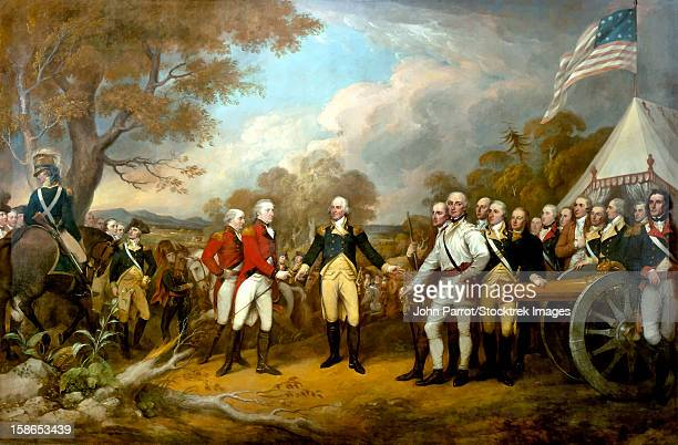 ilustraciones, imágenes clip art, dibujos animados e iconos de stock de revolutionary war painting showing the surrender of british general john burgoyne. - american revolution