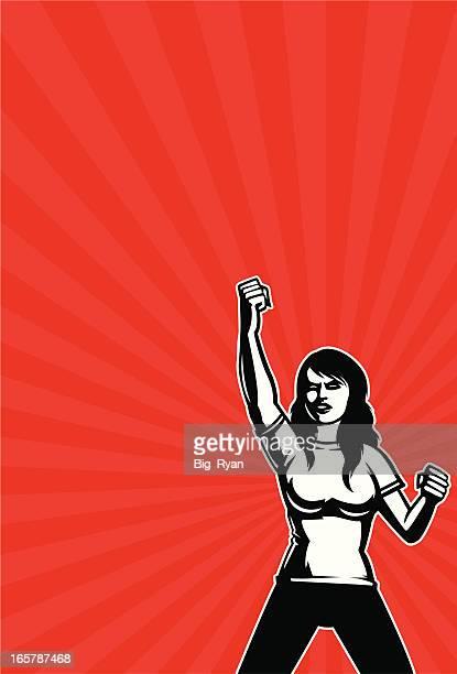 revolutionary woman - revolution stock illustrations, clip art, cartoons, & icons