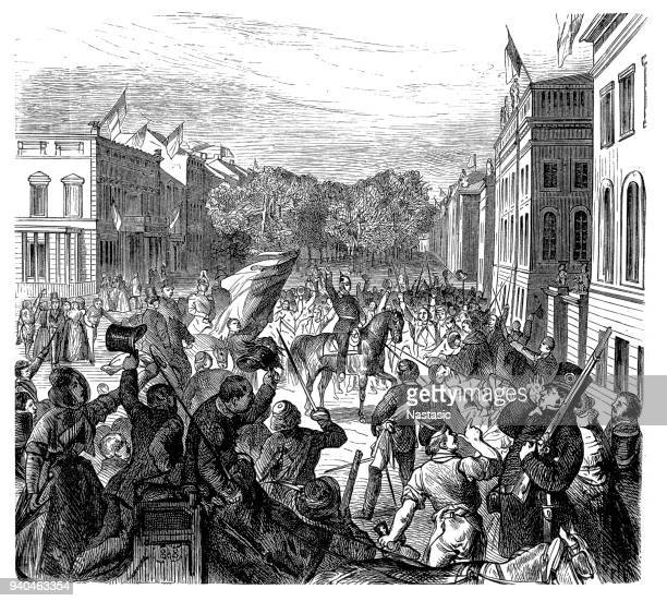 revolutions 1848 - 1849, germany, king in front of the university on march 21, 1848 - protestor stock illustrations, clip art, cartoons, & icons