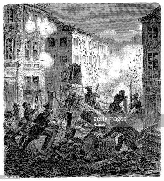 revolutions 1848 - 1849, germany, prussia, march revolution, berlin, barricade at the coelln townhall, 18.3.1848 - barricade stock illustrations