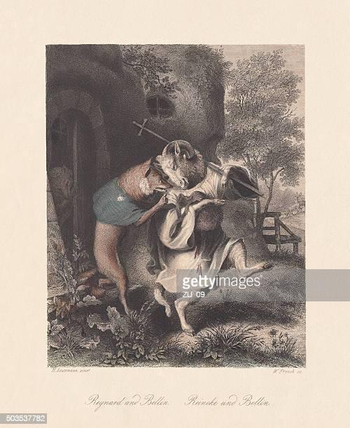 "Reynard and Bellin. Scene from ""Reynard the Fox"", published c.1855"