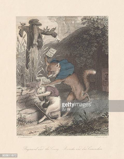 "stockillustraties, clipart, cartoons en iconen met reynard and the coney. from ""reynard the fox"", published c.1855 - een pak voor de broek geven"