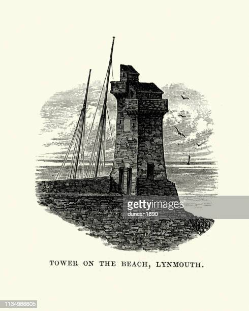 Rhenish Tower, Lynmouth harbour tower, Devon, 19th Century
