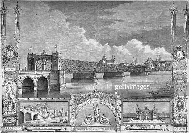 rhine bridge from mannheim to ludwigshafen, germany - mannheim stock illustrations