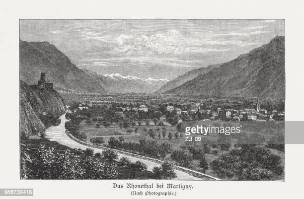 ilustraciones, imágenes clip art, dibujos animados e iconos de stock de valle del ródano cerca de martigny, valais, suiza, grabado en madera, publicado 1897 - valle