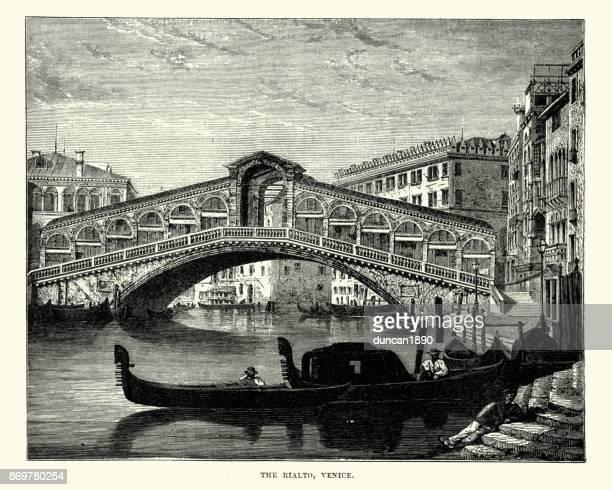rialto bridge, venice, 19th century - venice italy stock illustrations, clip art, cartoons, & icons