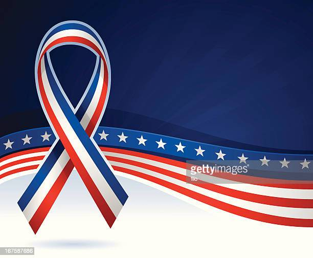 usa ribbon background - veterans day stock illustrations, clip art, cartoons, & icons