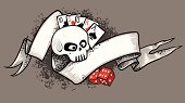 Ribbon, gambling stuff, skull (vector)