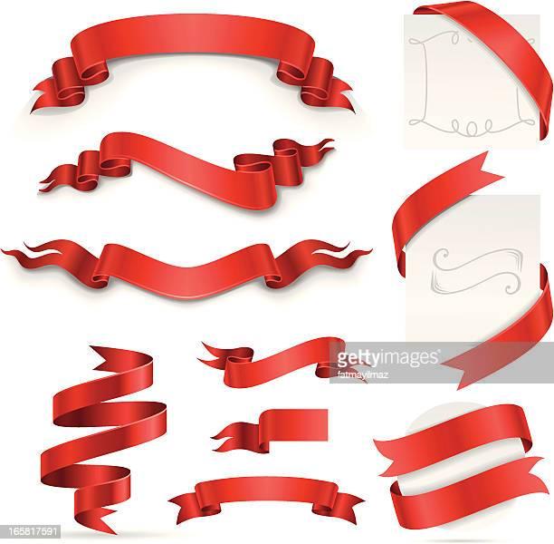 stockillustraties, clipart, cartoons en iconen met ribbon set (red) - sjerp