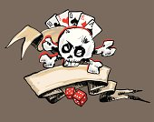 Ribbon, Skull and Gambling (vector)