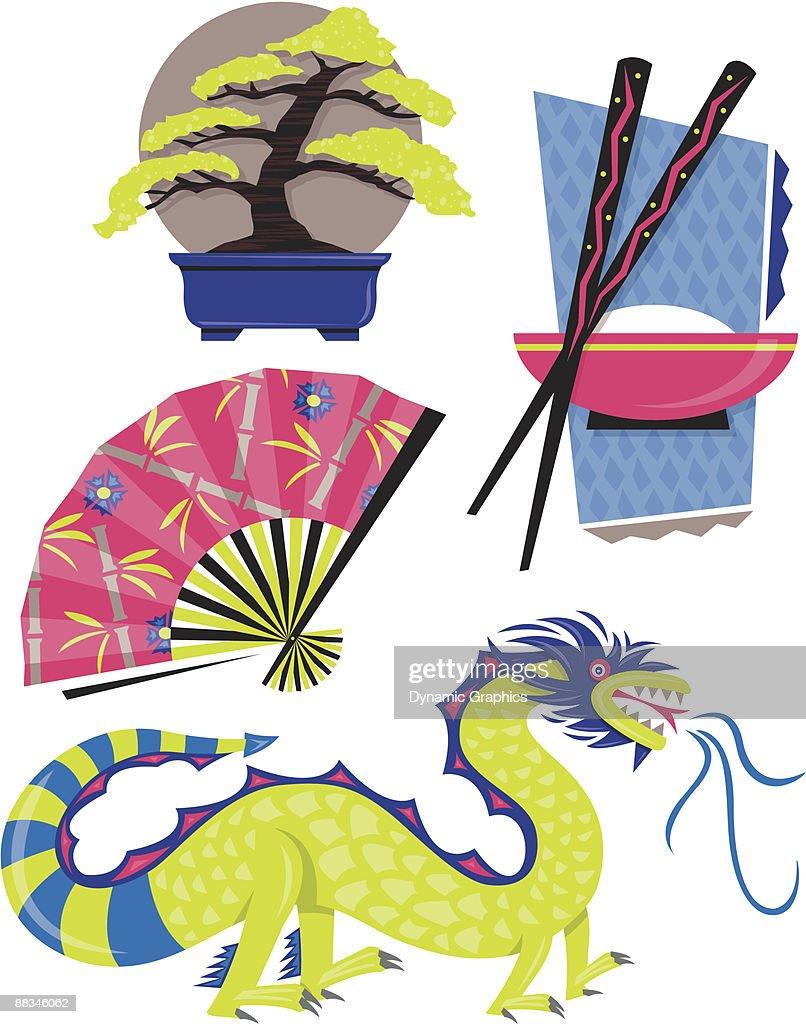 Rice Dragon Fan And Bonsai Tree Layered Color Illustrator Ver 5