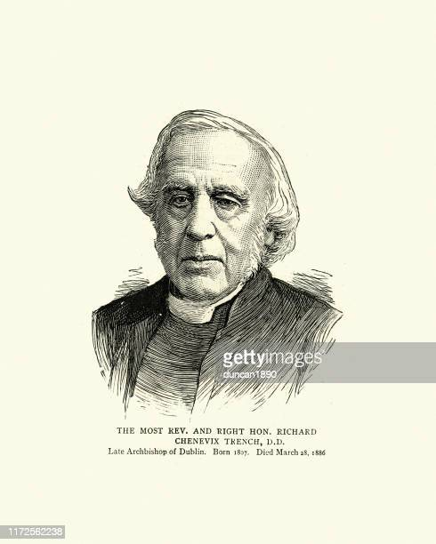 richard chenevix trench, anglican archbishop and poet, 19th century - anglican stock illustrations