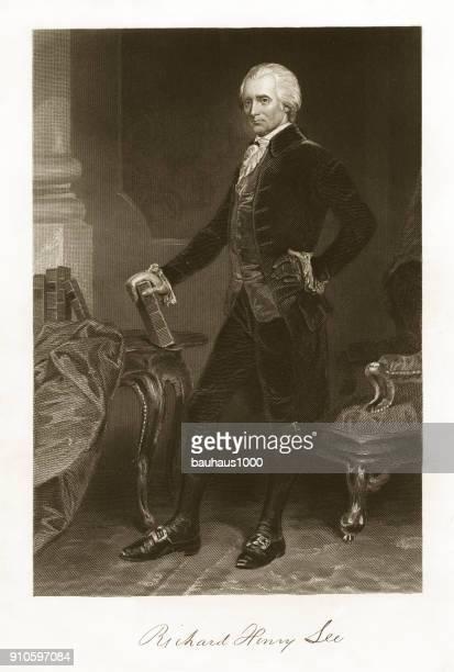richard henry lee engraving - declaration of independence stock illustrations