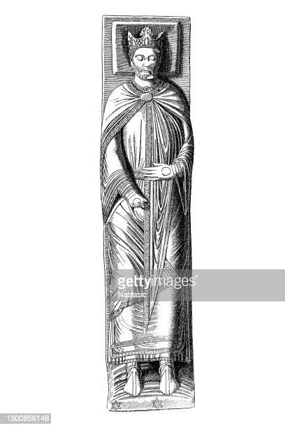 richard i. statue from the tomb of the king at the abbey of fontevraud - normandy stock illustrations
