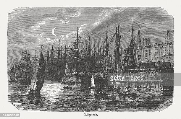 richmond, virginia, usa, wood engraving, published in 1880 - chesapeake bay stock illustrations, clip art, cartoons, & icons