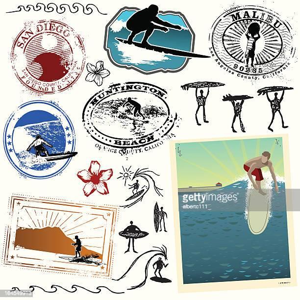 ride the wild surf - huntington beach california stock illustrations, clip art, cartoons, & icons