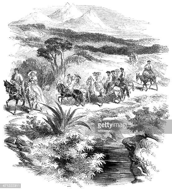 Riding in Andalucia - 1855 illustration