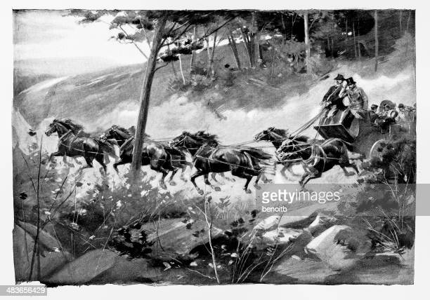 riding the country road - horsedrawn stock illustrations, clip art, cartoons, & icons