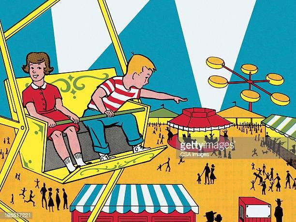 riding the ferris wheel - agricultural fair stock illustrations, clip art, cartoons, & icons
