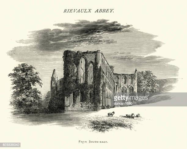 リーヴォ修道院、南東、ノース ・ ヨークシャー、19 世紀から - リーヴォー大修道院点のイラスト素材/クリップアート素材/マンガ素材/アイコン素材
