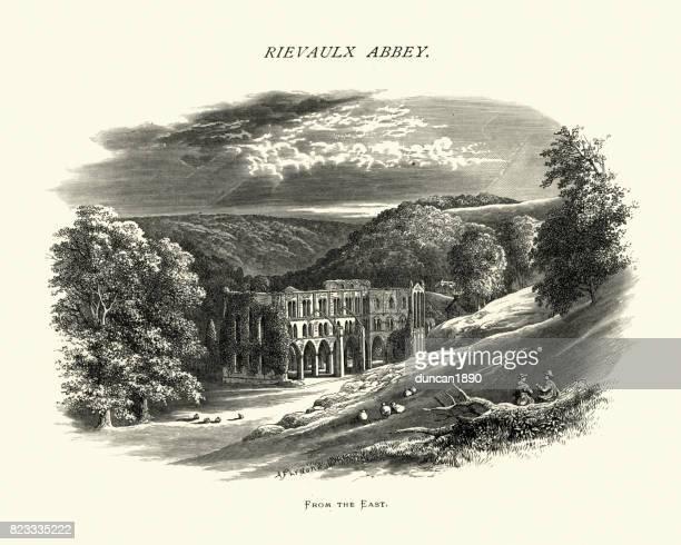 リーヴォ修道院、ノース ・ ヨークシャー、19 世紀 - リーヴォー大修道院点のイラスト素材/クリップアート素材/マンガ素材/アイコン素材