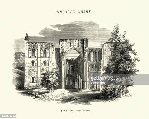 リーヴォ修道院、合唱団、ノース ・ ヨークシャー、19 世紀 - リーヴォー大修道院点のイラスト素材/クリップアート素材/マンガ素材/アイコン素材