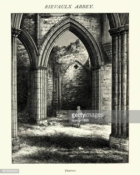リーヴォ修道院、教区会、ノース ・ ヨークシャー、19 世紀 - リーヴォー大修道院点のイラスト素材/クリップアート素材/マンガ素材/アイコン素材