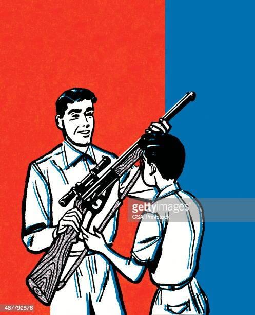 ilustraciones, imágenes clip art, dibujos animados e iconos de stock de rifle - maltrato infantil