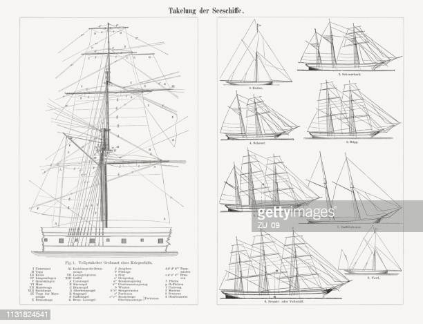 Rigging of the sailing ships, wood engravings, published in 1897