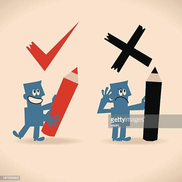 ilustrações, clipart, desenhos animados e ícones de direita e errado - preencher um formulário