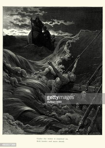 rime of the ancient mariner - more dread - gustave dore stock illustrations, clip art, cartoons, & icons