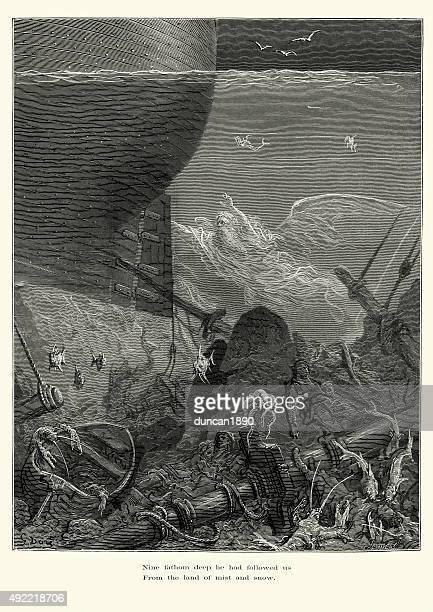 rime of the ancient mariner nine fathom deep he followed - infamous stock illustrations, clip art, cartoons, & icons
