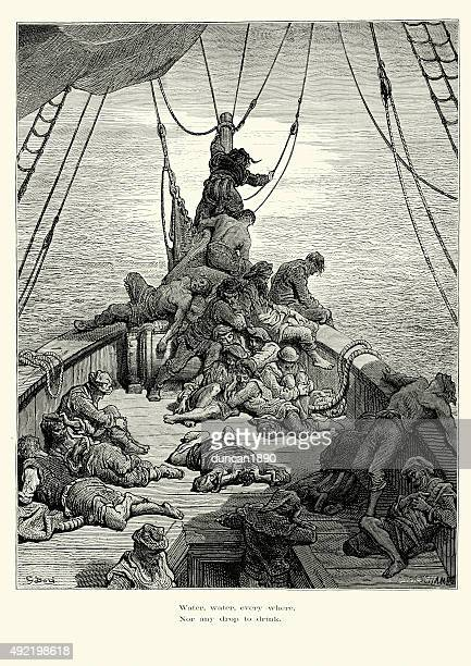 rime of the ancient mariner nor any drop to drink - ancient stock illustrations