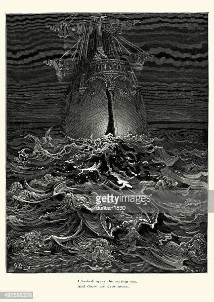 ilustrações, clipart, desenhos animados e ícones de geada da antiga mariner-upon a apodrecer mar - tall ship