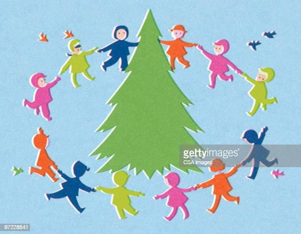 ilustraciones, imágenes clip art, dibujos animados e iconos de stock de ring around the tree - grupo mediano de personas