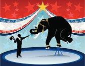 Ring master and elephant