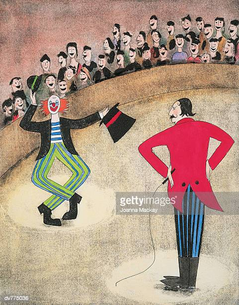 ringmaster and a clown - large group of people stock illustrations