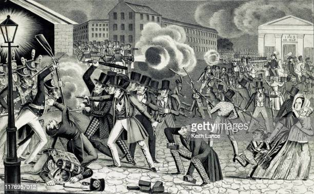 riot in philadelphia, 1844 - free bible image stock illustrations