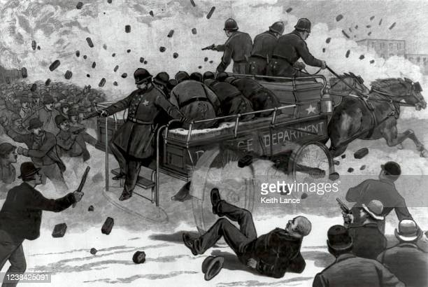 rioting and bloodshed in the streets of chicago, 1886 - may day international workers day stock illustrations
